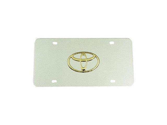 Auto Gold Toygc Gold On Chrome License Logo Plate, Toyota