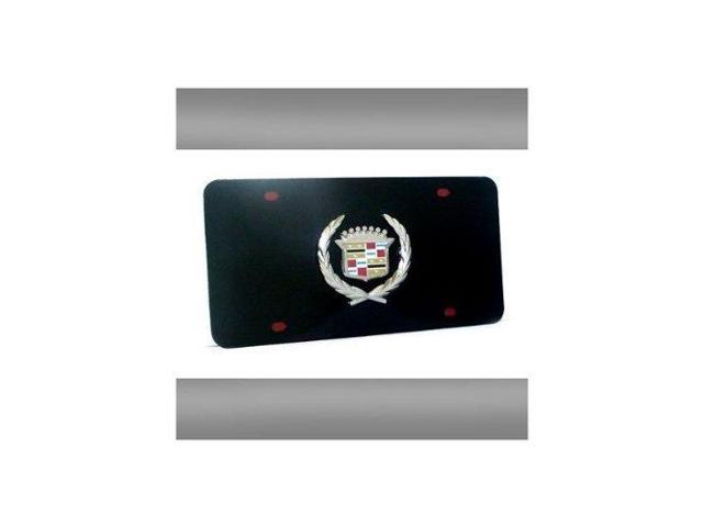 Auto Gold Cadcb Chrome On Black License Logo Plate, Cadillac