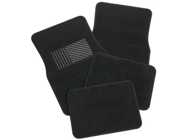 Rubber Queen 70541 Carpeted 4 Piece Mat With Vinyl Heel Pad Black