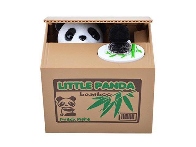 Cute panda stealing coin cat money box piggy bank - Coin stealing cat piggy bank ...