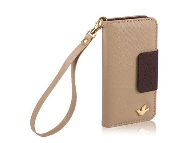 Magnetic Flip Light Khaki PU Wallet Cards Holder Case Cover For Apple Iphone 6+/5.5