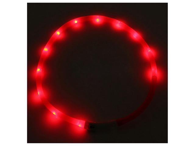 Waterproof Rechargeable USB LED Flashing Light Band Belt Safety Pet Dog Collar Red
