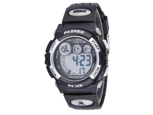 THZY PASNEW LCD Outdoor sports electronic watches children waterproof watch 3ATM(silver black)