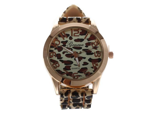 THZY GENEVA Casual Women's Leopard Jelly Silicone Quartz Wrist Watch(Yellow + gold)