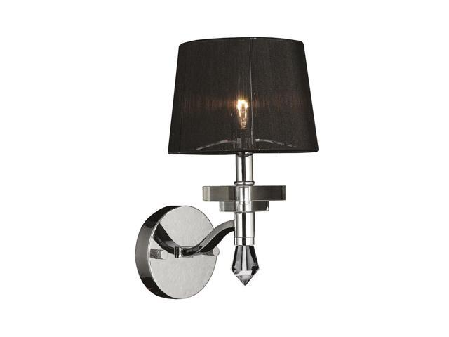 Chrome Wall Sconce With Black Shade : Gatsby Collection 1 Light Arm Chrome Finish and Clear Crystal Wall Sconce Light with Black ...