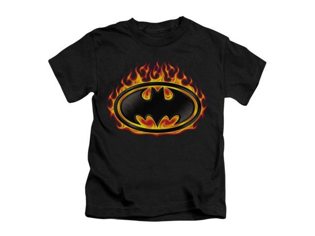 Batman Little Boys' Bat Flames Shield Childrens T-shirt 4 Black