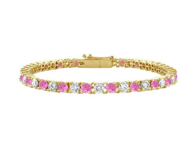 Pink Sapphire and Diamond Tennis Bracelet with 1.50 CT TGW on 14K Yellow Gold