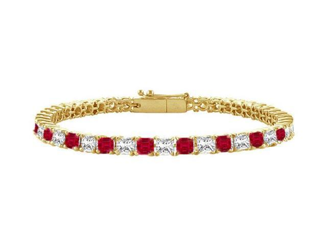 Ruby and Diamond Tennis Bracelet with 2.00 CT TGW on 14K Yellow Gold