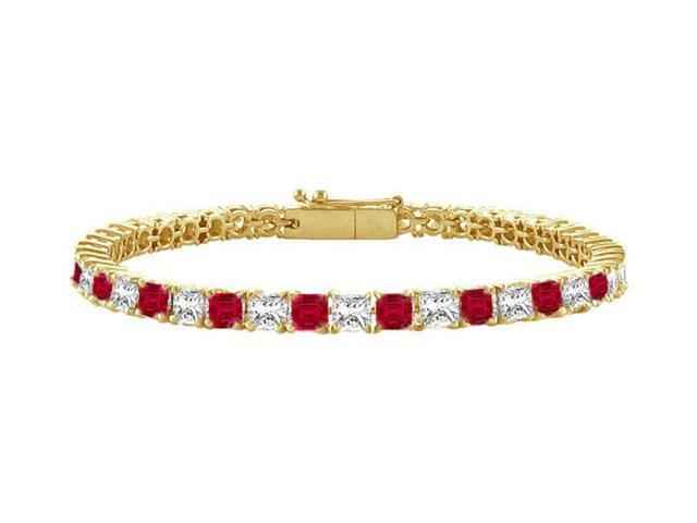 Ruby and Diamond Tennis Bracelet with 4.00 CT TGW on 14K Yellow Gold