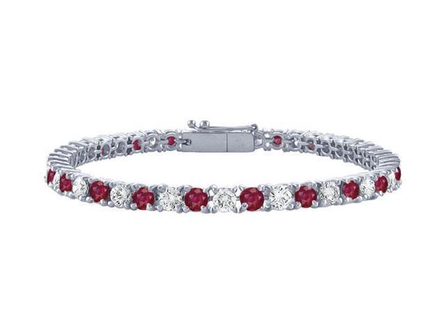 Ruby and Diamond Tennis Bracelet with 3 CT TGW on Platinum