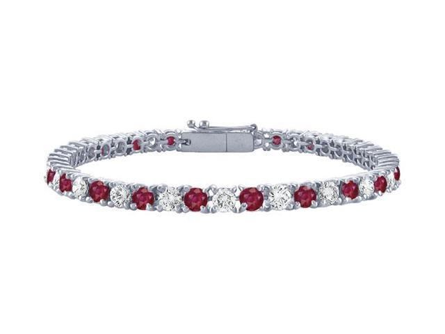 Ruby and Diamond Tennis Bracelet with 4 CT TGW on Platinum