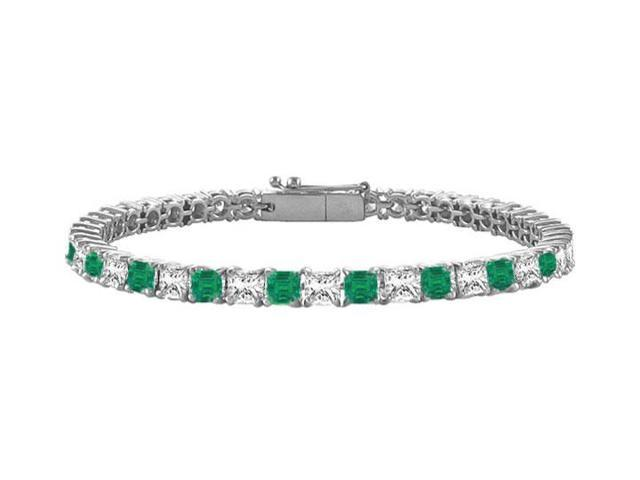 Emerald and Diamond Tennis Bracelet with 3.00 CT TGW on 14K White Gold