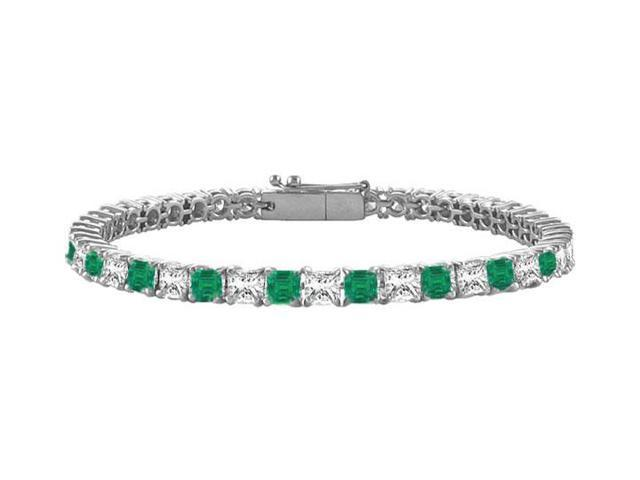 Emerald and Diamond Tennis Bracelet with 4.00 CT TGW on 14K White Gold