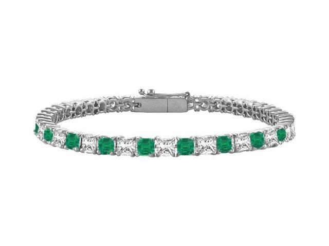Emerald and Diamond Tennis Bracelet with 5.00 CT TGW on 14K White Gold