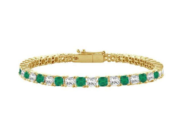 Emerald and Diamond Tennis Bracelet with 5.00 CT TGW on 14K Yellow Gold