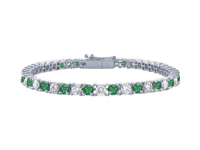 Emerald and Diamond Tennis Bracelet with 2 CT TGW on Platinum