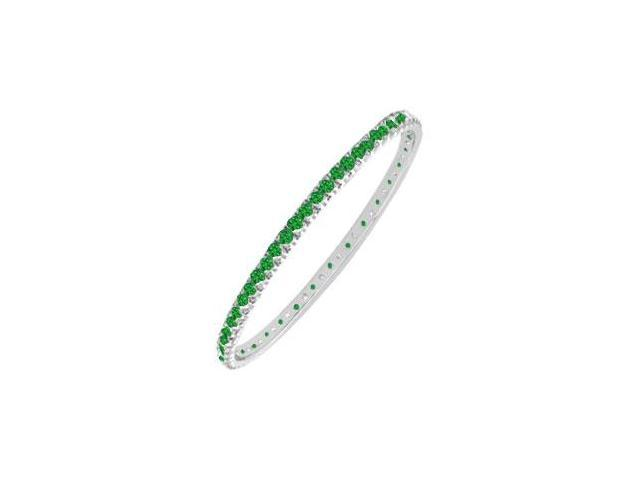 Emerald Eternity Bangle  14K White Gold - 2.00 CT TGW