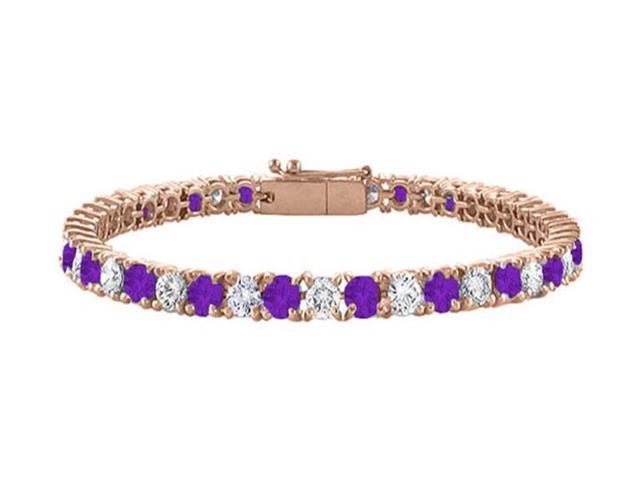 Cubic Zirconia and Amethyst Tennis Bracelet with 7CT TGW on 14K Rose Gold Vermeil. 7 Inch