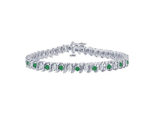 Emerald and Diamond Tennis Bracelet with 1.00 CT TGW on Platinum