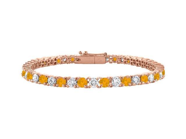 Citrine and Cubic Zirconia Tennis Bracelet in 14K Rose Gold Vermeil. 3 CT. TGW. 7 Inch