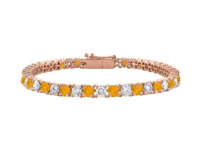 Cubic Zirconia and Citrine Tennis Bracelet in 14K Rose Gold Vermeil. 4CT. TGW. 7 Inch