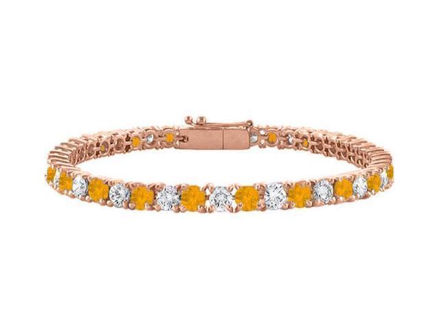 Cubic Zirconia and Citrine Tennis Bracelet in 14K Rose Gold Vermeil. 4CT. TGW. 7 Inch
