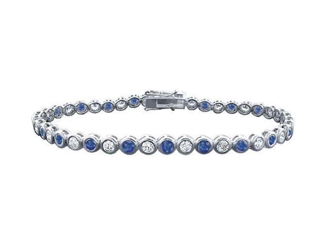Sapphire and Diamond Tennis Bracelet with 4.00 CT TGW on Platinum