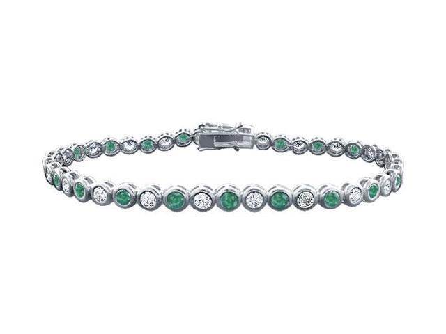 Emerald and Diamond Tennis Bracelet with 4.00 CT TGW on Platinum