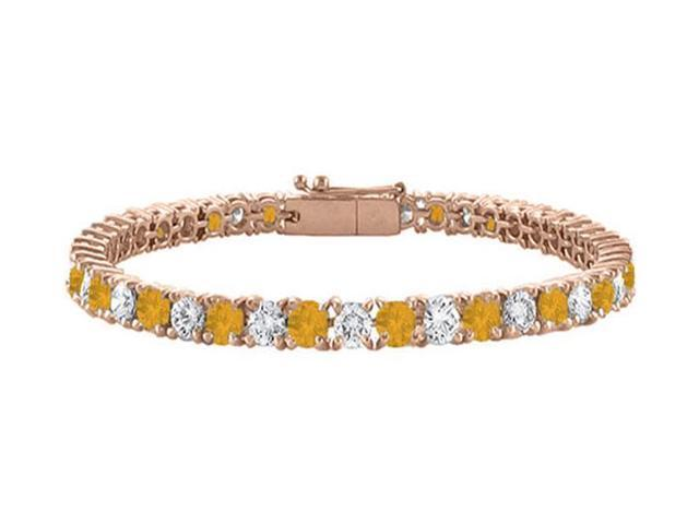 Cubic Zirconia and CitrineTennis Bracelet with 7 CT TGW on 14K Rose Gold Vermeil. 7 Inch