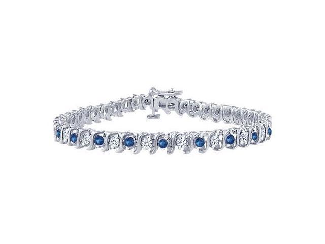 Sapphire and Diamond Tennis Bracelet with 1.00 CT TGW on Platinum