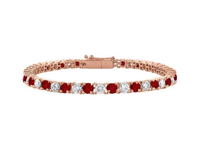 Cubic Zirconia and Garnet Tennis Bracelet in 14K Rose Gold Vermeil. 3 CT. TGW. 7 Inch