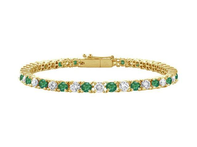 Emerald and Diamond Tennis Bracelet with 1.50 CT TGW on 18K Yellow Gold