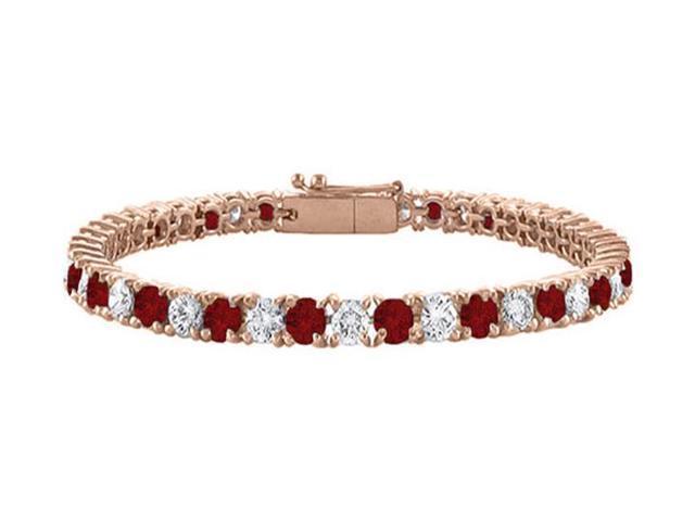 Tennis Bracelet Garnet and Cubic Zirconia in 14K Rose Gold Vermeil. 7CT. TGW. 7 Inch