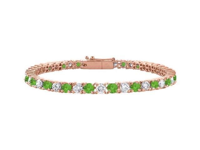 Cubic Zirconia and Peridot Tennis Bracelet in 14K Rose Gold Vermeil. 2CT. TGW.