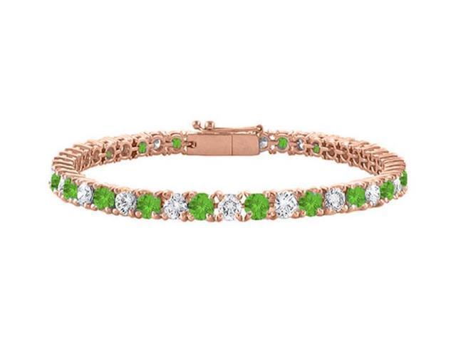 Peridot Tennis Bracelet with Cubic Zirconia 4CT. TGW. on 14K Rose Gold Vermeil. 7 Inch