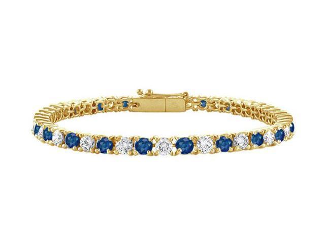 Sapphire and Diamond Tennis Bracelet with 1.50 CT TGW on 18K Yellow Gold