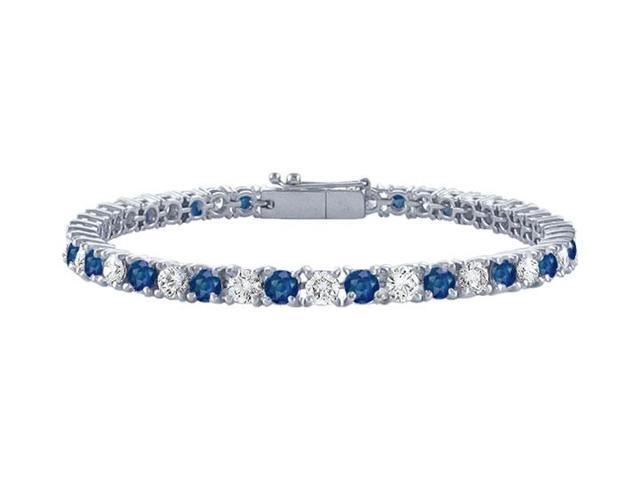 Sapphire and Diamond Tennis Bracelet with 1.50 CT TGW on Platinum