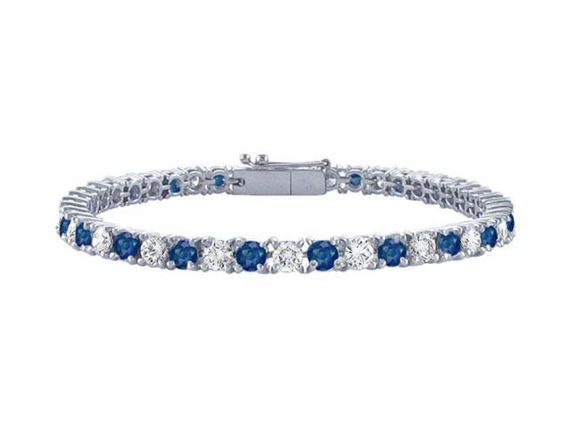 Sapphire and Diamond Tennis Bracelet with 1.50 CT TGW on Platinum