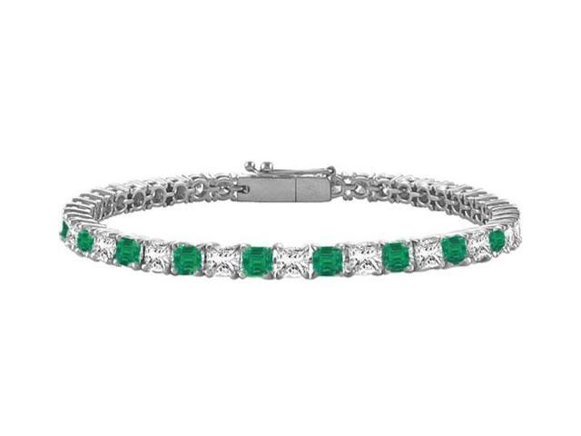 Emerald and Diamond Tennis Bracelet with 2.00 CT TGW on 18K White Gold
