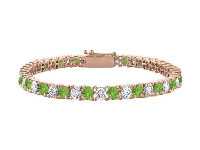 Tennis Bracelet Peridot with Cubic Zirconia on 14K Rose Gold Vermeil. 7CT. TGW. 7 Inch