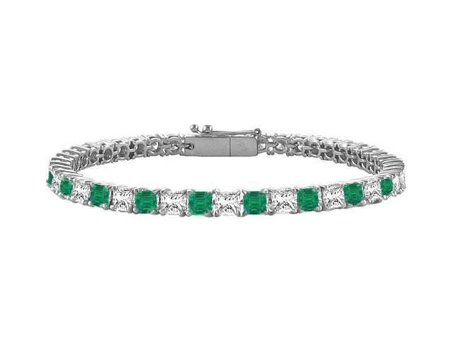 Emerald and Diamond Tennis Bracelet with 3.00 CT TGW on 18K White Gold