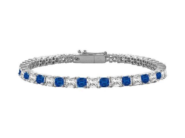 Sapphire and Diamond Tennis Bracelet with 4.00 CT TGW on 18K White Gold