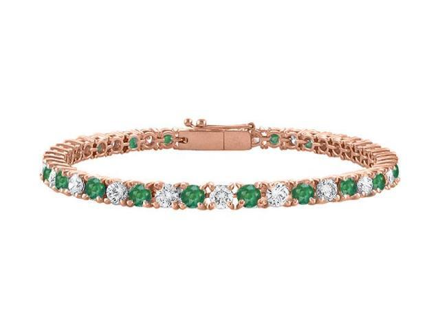 Created Emerald Tennis Bracelet with Cubic Zirconia 4 CT. TGW. on 14K Rose Gold Vermeil. 7 Inch