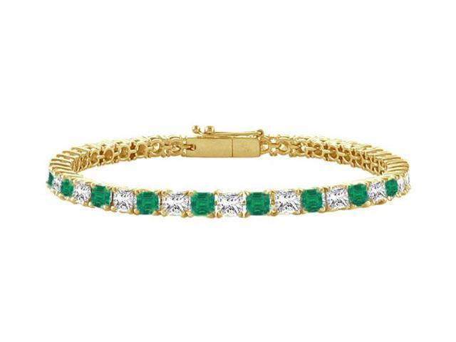 Emerald and Diamond Tennis Bracelet with 2.00 CT TGW on 18K Yellow Gold