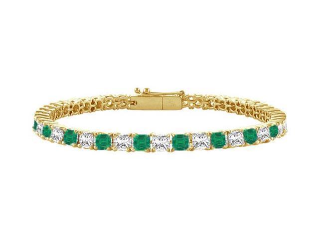 Emerald and Diamond Tennis Bracelet with 2.00 CT TGW on 18K Yellow Gold