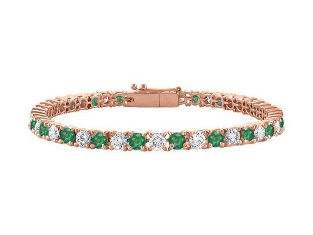 Cubic Zirconia and Created Emerald Tennis Bracelet in 14K Rose Gold Vermeil. 5 CT. TGW. 7 Inch