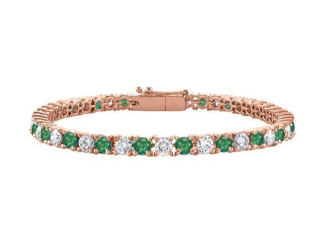 Cubic Zirconia and Created Emerald Tennis Bracelet in 14K Rose Gold Vermeil. 5 CT. TGW. 7 Inch