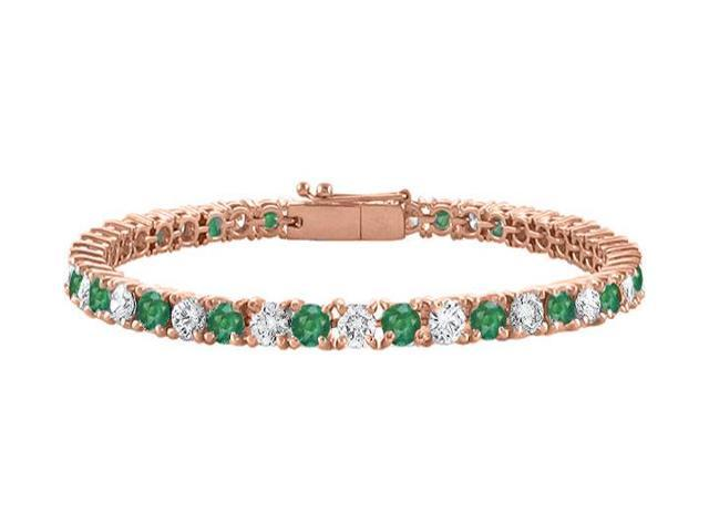 Tennis Bracelet Emerald Created and Cubic Zirconia in 14K Rose Gold Vermeil. 7CT. TGW. 7 Inch