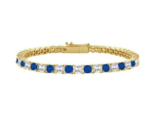 Sapphire and Diamond Tennis Bracelet with 4.00 CT TGW on 18K Yellow Gold