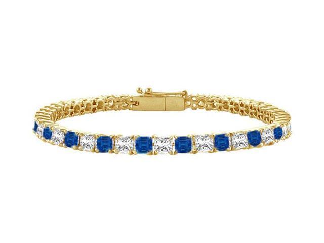 Sapphire and Diamond Tennis Bracelet with 5.00 CT TGW on 18K Yellow Gold
